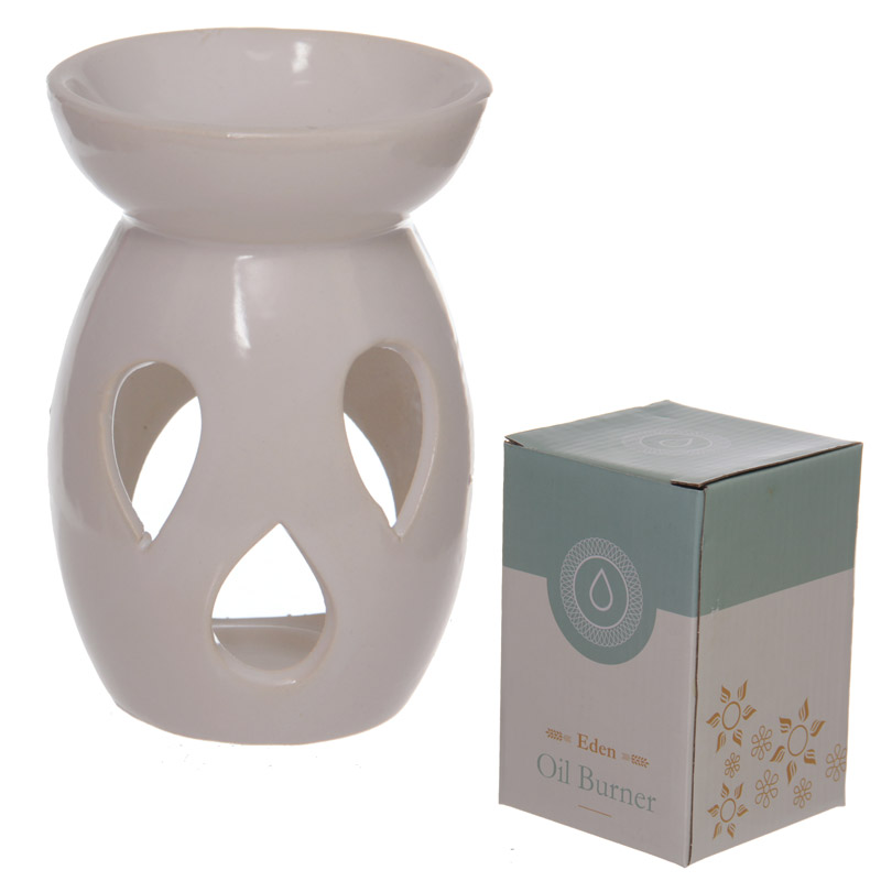 Simple White Ceramic Oil Burner with Teardrop Pattern