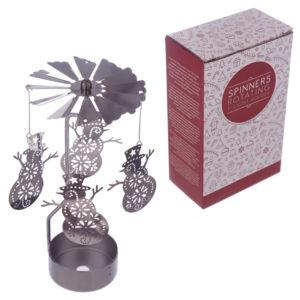 Snowman Design Metal Tea Light Spinner
