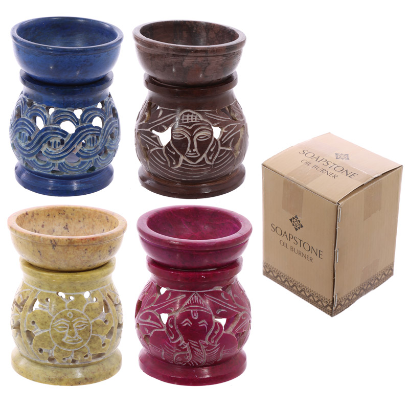 Soapstone Oil Burner - Coloured with Spiritual Patterns