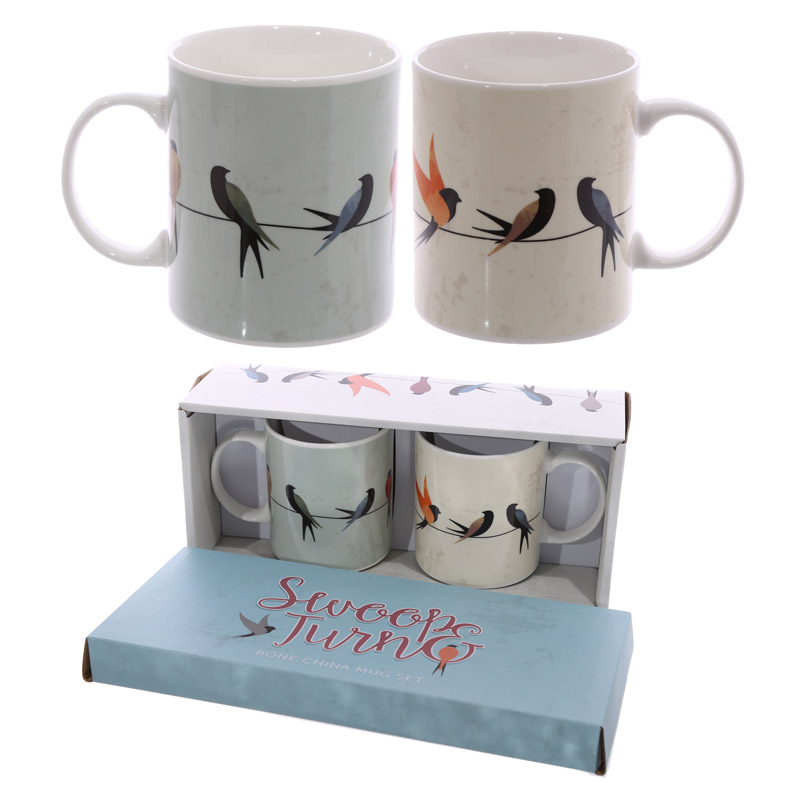 Swallows Design New Bone China Set of 2 Mugs