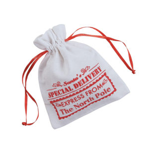 12 x Mini Canvas Drawstring Santa Bags12 x Mini Canvas Drawstring Santa Bags