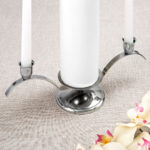 Chrome plated silver metal unity candle all in one set