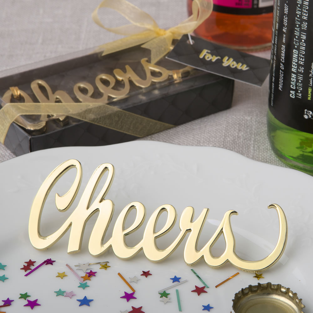 Cheers' gold metal bottle opener from solefavors