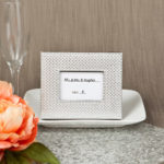 Silver Metallic Photo Frame Or Place Card Holder With Textured Leatherette Diamond FinishSilver Metallic Photo Frame Or Place Card Holder With Textured Leatherette Diamond Finish