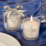 Silver Cross Themed Candle FavorsSilver Cross Themed Candle Favors