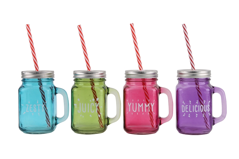 4 Assorted Garden Party Drinking Jars