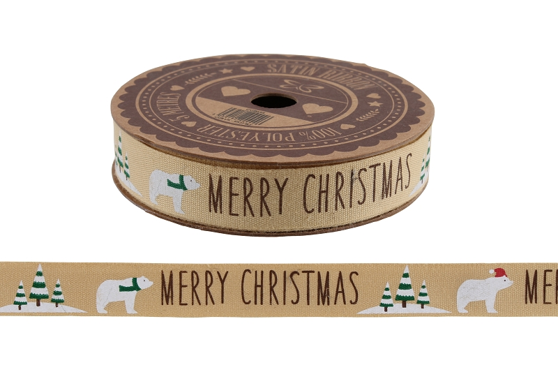 Polar Bear 'Merry Christmas' 5M Cotton Ribbon
