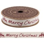 'Merry Christmas' Red Stag 5M Cotton Ribbon'Merry Christmas' Red Stag 5M Cotton Ribbon