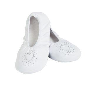 White Wedding Slippers with Heart DesignWhite Wedding Slippers with Heart Design