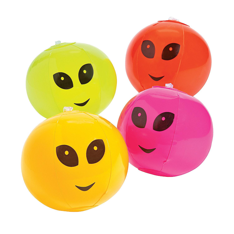 Pack of 4 Inflatable Alien Mini Beach Balls