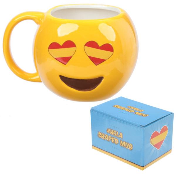 Fun Collectable Ceramic Spanish Flag Eyes Emotive Mug