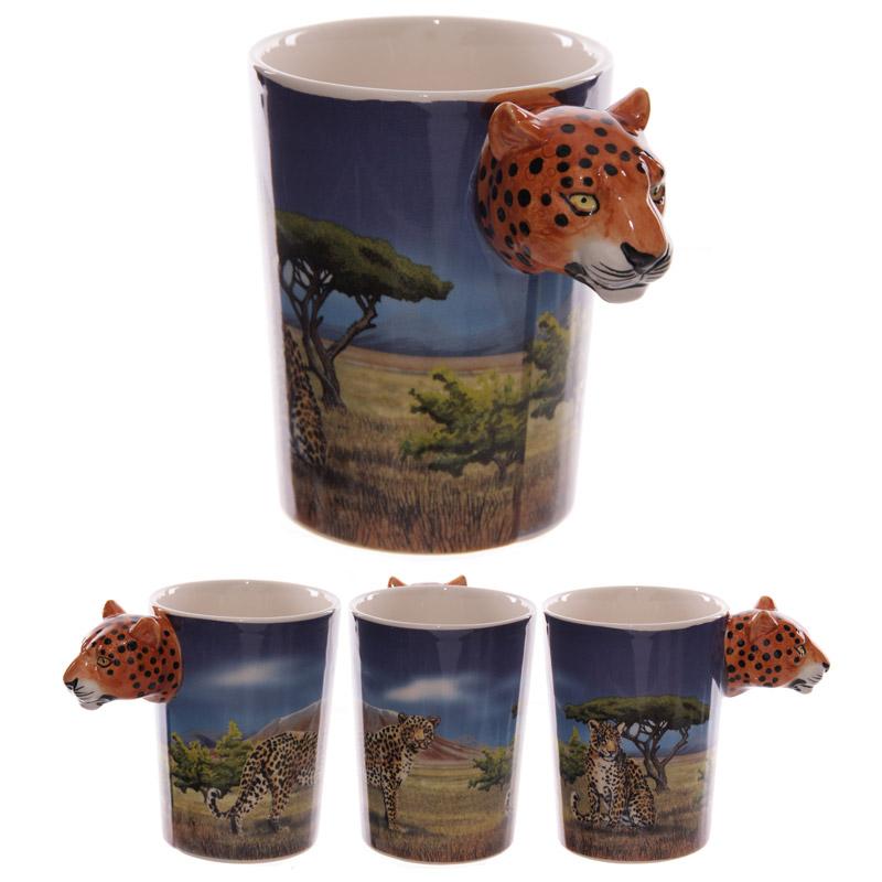 Fun Leopard Head Shaped Handle Ceramic Mug