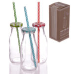 Vintage Milk bottle with Lid and Straw – Assortment of 3