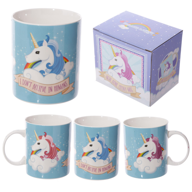I don't believe in humans Unicorn New Bone China Mug