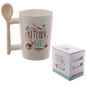 Girl Tools Shaped Handle Mug Wooden SpoonGirl Tools Shaped Handle Mug Wooden Spoon