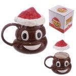 Fun Collectable Ceramic Poop Emotive Mug with Lid