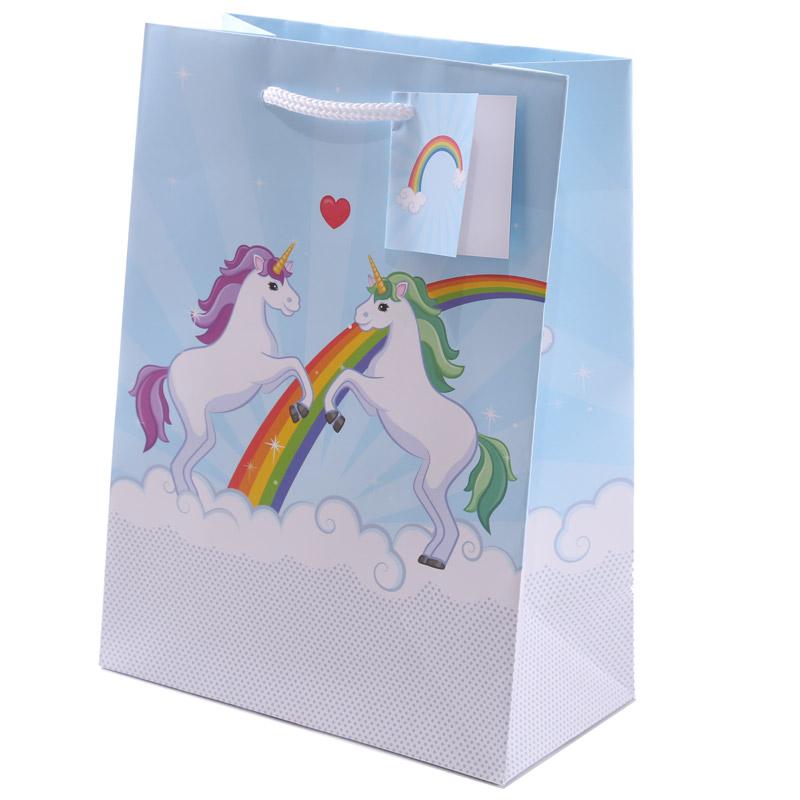 Fun Unicorn Design Medium Glossy Gift Bag