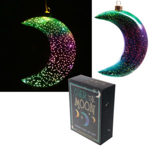 Green  and  Purple Hanging LED Moon - Small Metallic