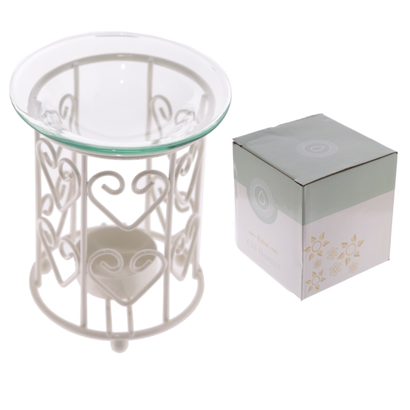 Metal Oil Burner with Glass Dish – White Love Hearts