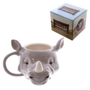 Novelty Rhino Head Shaped Ceramic Mug