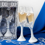 White Butterfly Design Wedding Toasting Flutes