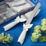White Butterfly Design Wedding Cake Knife Server SetButterfly Design Cake Knife Server Set