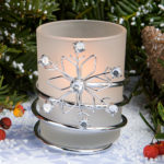 Snowflake Frosted CandlesSnowflake Candles