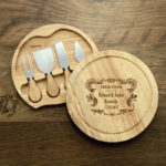Personalised Wooden Round Cheese Knife Board Set Crest Design