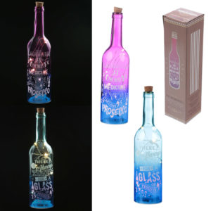 Decorative LED Glass Bottle Light - Prosecco Slogans