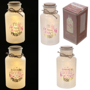 Decorative LED Glass Jar Light - Prosecco Slogans