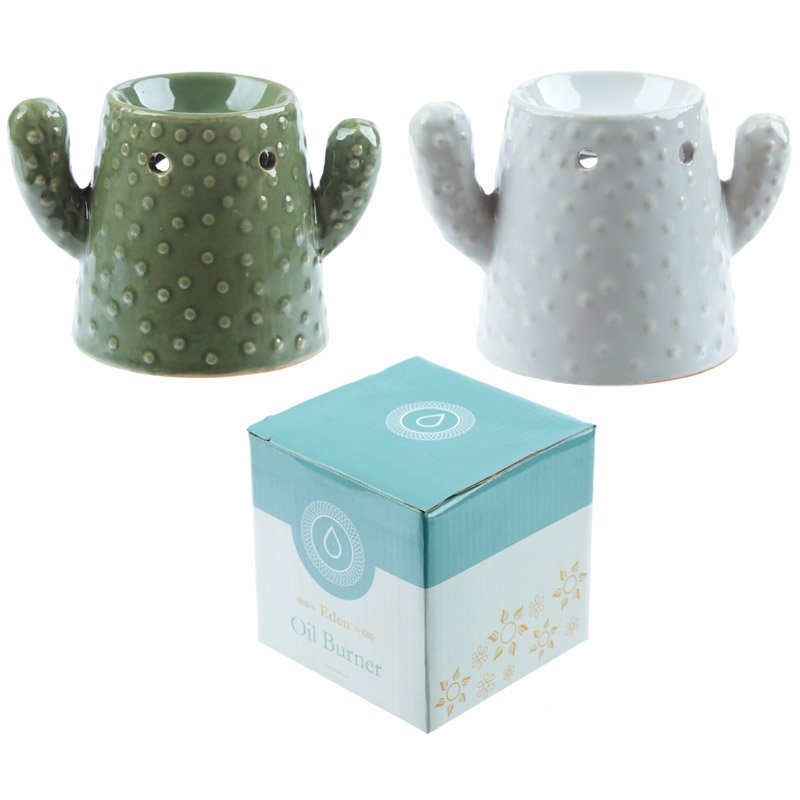 Eden Aroma Set – Ceramic Cactus Oil Burner