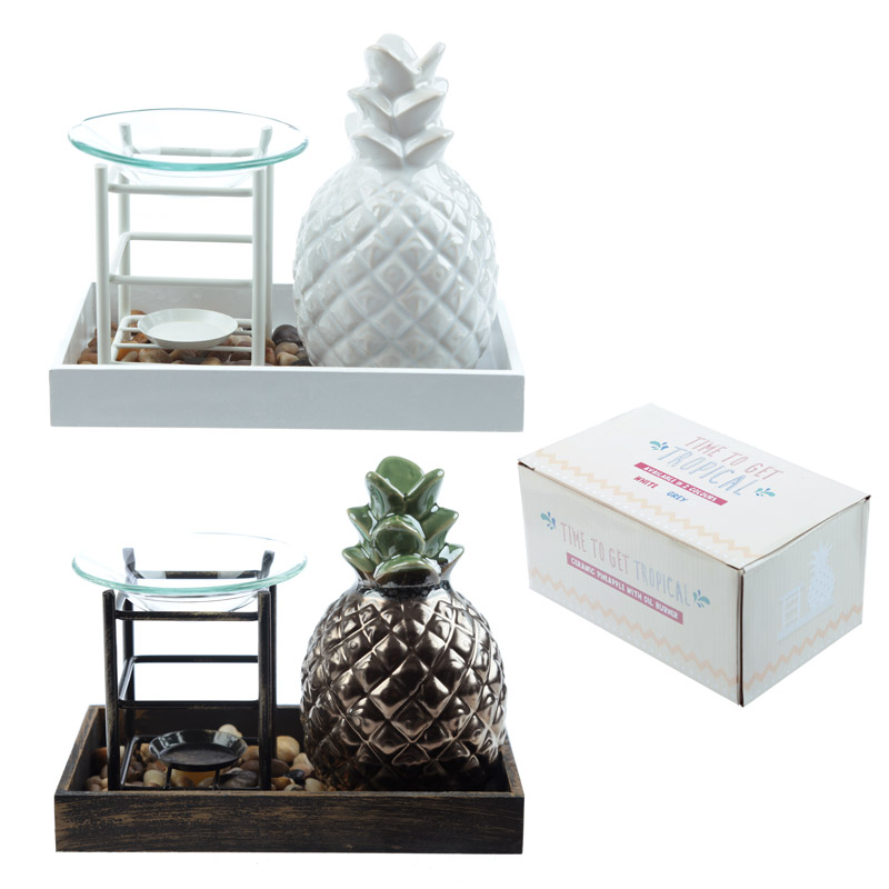 Eden Aroma Set – Ceramic Pineapple  and  Metal Oil Burner