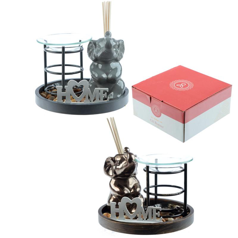 Eden Aroma Set – Metal Oil Burner  and  Ceramic Elephant Diffuser
