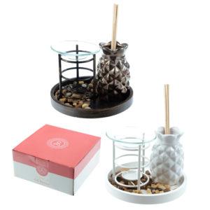 Eden Aroma Set - Metal Oil Burner  and  Ceramic Pineapple Diffuser