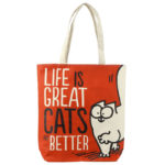 Handy Cotton Zip Up Shopping Bag - Simon's Cat Life is Great