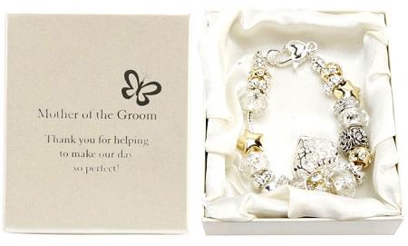 Amore Wedding Silver Gold Bead Charm Bracelet 'Mother of The Groom'Amore Silver Gold Bead Charm Bracelet Mother of The Groom