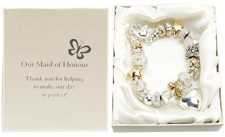 Amore Wedding Silver Gold Bead Charm Bracelet 'Maid of Honour'Amore Silver Gold Bead Charm Bracelet Maid of Honour