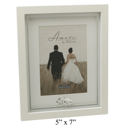 Amore Wedding Photo Frame With Crystal Rings Plain 5×7