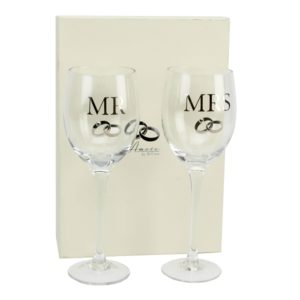 Amore Wedding Mr. And Mrs. Wine Glass Gift SetAmore Mr. And Mrs. Wine Glass Gift Set