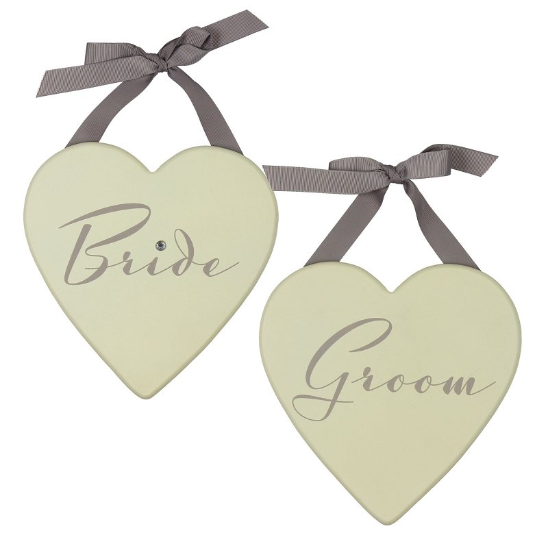 Amore Wedding Set of 2 Heart Plaques 20cm 'Bride And Groom'