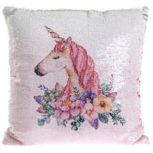 Unicorn Floral Sequin CushionUnicorn Floral Sequin Cushion