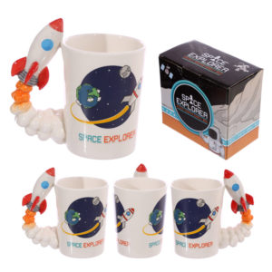 Space Rocket Shaped Handle Mug with Space Explorer DecalSpace Rocket Shaped Handle Mug with Space Explorer Decal