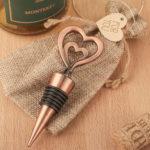 Double heart bottle stopper in antique copper finishDouble heart bottle stopper in antique copper finish