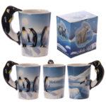 Novelty Arctic Design Penguin Shaped Handle Mug
