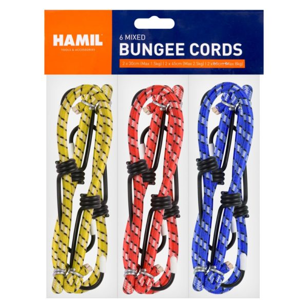 Assorted Elastic Bungee Cord Set – 6 Pack