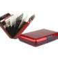 Aluminium Credit Card CaseThis lightweight Credit Card Case is encased in a durable aluminium shell to protect cards and help to prevent loss.  Each card wallet holds up to six standard sized credit cards.
