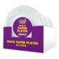 Disposable White Paper Plates 23cm - 30 PackThis pack of Disposable White Paper Plates contains thirty paper plates that have a diameter of 23cm.  Each plate is constructed from food safe paper and is ideal for parties and celebrations.