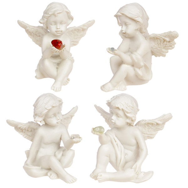 Collectable Cherub Sitting Holding Mineral Stone