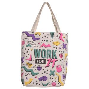 Handy Zip Up Shopping Bag - Work It Gym Slogan