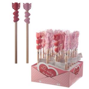 Fun Love Heart Arrow Pencil and Eraser Set